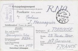 OFLAG XXI B 3 GEPRÜFT 24 Janvier 1941 - Carte De Schubin Ou Thure (Szubin Ou Turek En Pologne) Cachet Trapèze - WW II