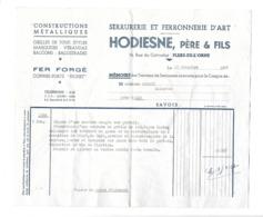 FACTURE De 1956..Serrurerie, Ferronnerie HODIESNE, Père Et Fils, Rue Du Calvados à FLERS De L'ORNE (61) - France