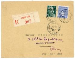 COMPO 2F GANDON 4F ARC UNICOLORE ENV 1945 PARIS VIII - Marcophilie (Lettres)
