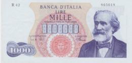 ITALIA LIRE 1000 - GIUSEPPE VERDI - 4/01/1968 - FIRME CARLI - PACINI - QUASI FIOR DI STAMPA - RARO3 - - [ 2] 1946-… : Repubblica