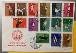 9192 -   San Marino  Série Complète Sur Enveloppe 7.12.1962 - Ete 1960: Rome