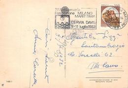 Cartolina Milano Marittima Viste Timbro A Targhetta Fondazione Cervia Davis 1982 - Ravenna