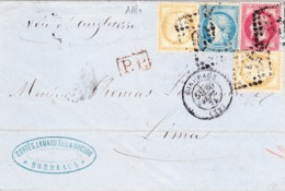 1871 Mischfrankatur Napoleon Lorbeer 80 Cent Ceres 10 Cent (2) Und 25 Cent, Aus Bordeaux Nach Lima Peru - 1871-1875 Cérès
