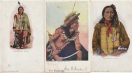 INDIEN - INDIAN -  Lot De Trois Cartes Début De Siècle - Sitting Bull ; Short Bull ; Inconnu - Autres Thèmes