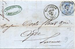 PETITE LETTRE DE MONTAUBAN POUR ADGE - 1876-1878 Sage (Type I)