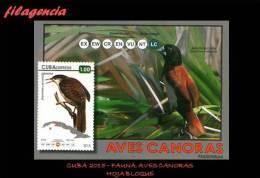 AMERICA. CUBA MINT. 2015 FAUNA. AVES CANORAS. HOJA BLOQUE - Cuba
