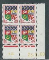 France N° 1230A  XX : Armoiries D' Oran  En Bloc De 4 Coin Daté Du  23 . 9 . 60 : 3 Points Blancs Sans Charnière, TB - 1950-1959
