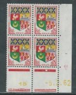 France N° 1230A  XX : Armoiries D' Oran  En Bloc De 4 Coin Daté Du  5 . 2 . 62 : 1 Point Blanc Sans Charnière, TB - 1950-1959