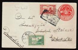 TURQUIE: RARE Entier- Postal Avec 2 Timbres Complémentaires, Envoi Recommandé De Adana En 1917 Pour L'Allemagne. - Lettres & Documents