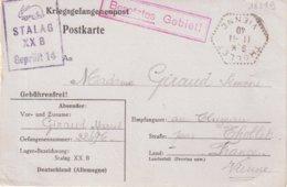 """FRANCE : CORRESPONDANCE DES PRISONNIER DE GUERRE ."""" STALAG XX B GEPRUFT 14 """" . ( ALLEMAGNE ) . 20/10/1940 . - Postmark Collection (Covers)"""