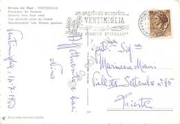 Cartolina Ventimiglia Panorama Da Ponente Timbro A Targhetta Ventimiglia 1960 - Imperia