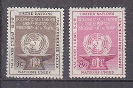 H0015 - ONU UNO NEW YORK N°27/28 ** TRAVAILLE - New-York - Siège De L'ONU