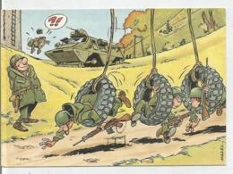 Entraînement De Soldats Dans Des Pneus De Char D'assaut. Signé Mazel - Humor