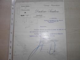 Papier Ancien  1928 DUCHENE-SANDRON Garage Réparations   CHATELINEAU - Automobil