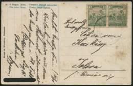 1911-Ungheria Cartolina Affrancata Con Coppia 5f.verde Mietitori - Ungheria