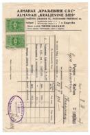 "1927 YUGOSLAVIA, CROATIA, ZAGREB TO SVILAJNAC, INVOICE, ALMANAH "" KINGDOM OF SHS"", 2 REVENUE STAMPS, ONE DAMAGED - Invoices & Commercial Documents"