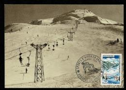 ANDORRE ANDORRA Carte Maximum 1966 Sports D' Hiver 1er Jour Illustré 24 AVRIL 66  2 Scan - Cartoline Maximum