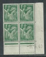 France N° 432 XX Type Iris  1 F. Vert En Bloc De 4 Coin Daté Du 9 . 5 . 40 , 1 Point Blanc Sans Charnière, TB - 1940-1949