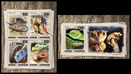 CENTRAL AFRICA 2019 - Lizards, M/S + S/S Official Issue [CA190808] - Reptielen & Amfibieën