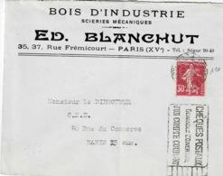 TP N° 191seul Sur Enveloppe De Ed Blanchut De Paris XV Pour Paris - 1877-1920: Semi-moderne Periode