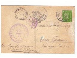 PC Finland To Estonia,Soviet Censor Cachet 1940 - 1923-1991 USSR