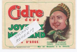 """ORBEC 14 - Cidrerie FOURCAT - Etiquette Du CIDRE """"joyeux Normand"""" - 551119 - Publicidad"""