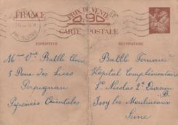 ENTIER IRIS 0.90C PERPIGNAN 27/12/40 POUR HOPITAL COMPLEMENTAIRE ST NICOLAS ISSY LES MOULINEAUX SEINE - Cartes Postales Types Et TSC (avant 1995)