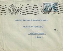 TP N° 319 Seul Sur Enveloppe De Paris Pour Levallois Perret - Poststempel (Briefe)
