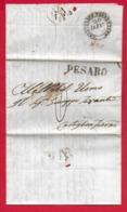 PREFILATELICA PONTIFICIO - 1845 - Da PESARO A CASTIGLION FIORENTINO - Timbri Postali + Timbro IMP Doppia Tassazione - Italia
