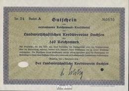 Deutsches Reich 340 Reichsmark, Gutschein Sehr Schön 1932 Landwirts. Kreditverein Sachsen - 1918-1933: Weimarer Republik