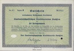Deutsches Reich 20 Reichsmark, Gutschein Sehr Schön 1934 Landwirts. Kreditverein Sachsen - Unclassified