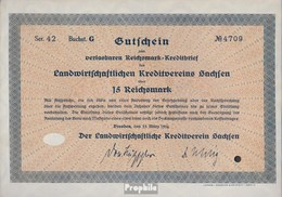 Deutsches Reich 15 Reichsmark, Gutschein Sehr Schön 1934 Landwirts. Kreditverein Sachsen - Unclassified