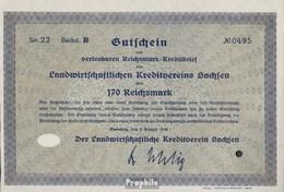 Deutsches Reich 170 Reichsmark, Gutschein Druckfrisch 1930 Landwirts. Kreditverein Sachsen - 1918-1933: Weimarer Republik