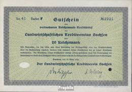 Deutsches Reich 20 Reichsmark, Gutschein Druckfrisch 1934 Landwirts. Kreditverein Sachsen - [ 4] 1933-1945: Derde Rijk