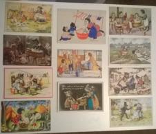 CPA / Lot De 11 Cartes Postales Anciennes / Thème Lessive Savon Blanchisseuses Lavandieres CHATS - Chats