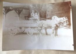 Photographie Ancienne Entreprise Maurice CHABERT Saintes Attelage Charrette Materiaux Construction Métier Photo 17x12 - Métiers