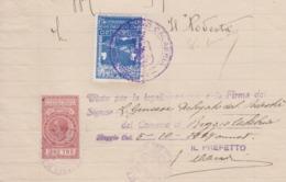 BRINDISI  1929 PRO MONUMENTO DEL MARINAIO 20 C.su Documento + MARCA DA BOLLO  3 LIRA - 1900-44 Victor Emmanuel III