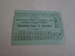 Biglietto Bus COLLESTATTEPIANO-S LIBERATORE Autolinee Gruppo TERNI Anni 40/50 - Bus