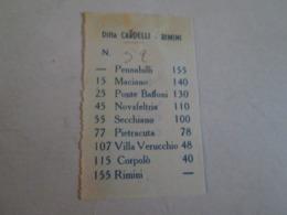 Biglietto Bus PENNABILLI-RIMINI Ditta Cardelli -rimini  Anni 40/50 - Autobus