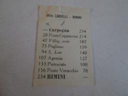 Biglietto Bus CARPEGNA-RIMINI Ditta Cardelli -rimini  Anni 40/50 - Autobus