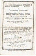 Doodsprentje EECKE Carolus (echtgen. L. De Clercq) - Lid Gemeenteraad ADINKERKE - Overleden 1872 - Images Religieuses