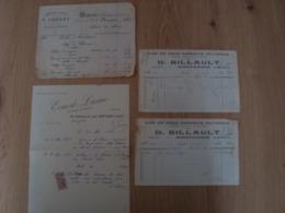 LOT DE 4 FACTURES DE MONTARGIS ERNEST LASNE F.IMBERT D.BILLAULT - 1900 – 1949