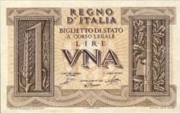 1939-Lire 1 Imperiale Vittorio Emanuele III Regio Decreto Del 14 Novembre Qualita' FDS - [ 1] …-1946 : Kingdom
