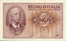 1940-Lire 5 Imperiale Vittorio Emanuele III Grassi / Porena / Cossu Piccolo Strappetto In Alto - [ 1] …-1946 : Reino
