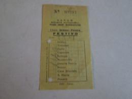 Biglietto Bus URBINO-PESARO Ditta S.A.P.U.M Anni 40/50/60 - Bus