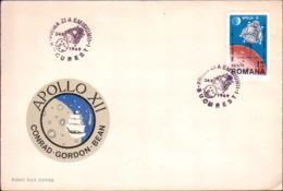 """1969-Romania S.1v.su Raccomandata Fdc Illustrata """"Apollo 12"""" - FDC"""