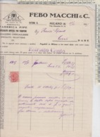 PIPE TABACCHI FATTURA FABBRICA PIPE 1929 FEBO MACCHI & C. - Documents
