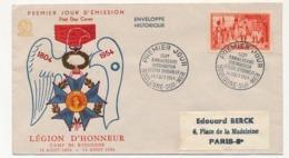 Enveloppe FDC - 150eme Anniversaire LEGION D'HONNEUR - Boulogne S/Mer - 14 Aout 1954 - FDC