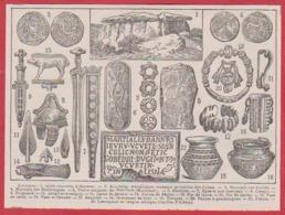 Art Celtique. Celte. Allée à Saumur, Monnaies, Pierres Sculptées, Armes, Bijoux... Larousse 1931. - Documentos Históricos
