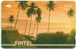 Fiji - FINTEL - Palms At Sunset - 3CWFA - 1993, 5$, 5.100ex, Used - Fiji